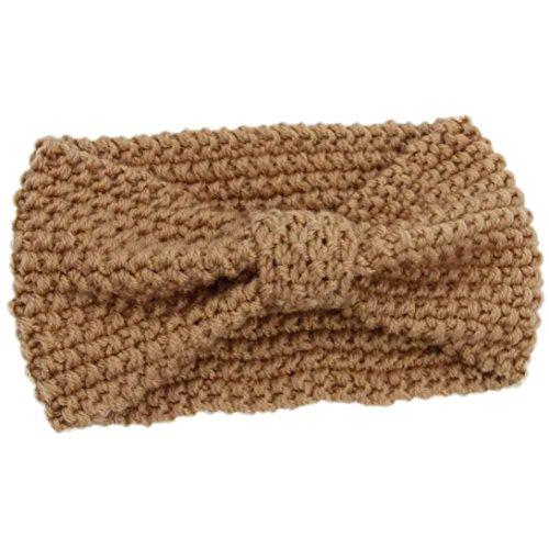 Muium Neue Winter Warm Crochet Strick Geflochtene Stirnband Frauen Stricken Wolle Band (Khaki) (Band Stricken)