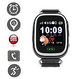 Jslai Enfants Smart GPS Montre Tracker Écran Tactile Smartwatch pour Enfants Filles Garçons avec SOS Anti-Perdu Réveil GPS Enfant Tracker Smart Montre-Bracelet pour iPhone Android Compatible (Noir)