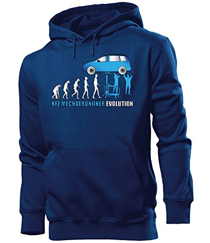 Kfz Meachatroniker Evolution 5913 Handwerker Arbeit Kollege Job Herren Hoodie Navy Aufdruck Blau XL