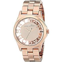 Marc Jacobs MBM3207 - Reloj con correa de piel para mujer, color rosa/gris