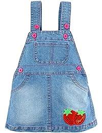 Happy Cherry vestito jeans da bambino bambina mini gonna con bretelle salopette  cartamodello di fragola 0348071360a4