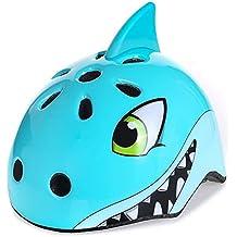 West ciclismo - casco seguridad para bicicleta, diseño 3D, para niños, para Scooter, para patines, hombre Infantil mujer, Sky-Blue Shark