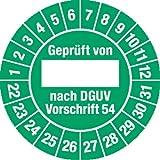 Prüfplakette Geprüft...DGUV Vorschrift 54, 2022 - 2031, Dokumentenfolie, Ø 3 cm, 100 St.