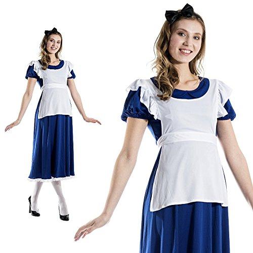 Alice Wunderland Lang Retro Schürze Hausmädchen Jahrhundertwende Kostüm Damen