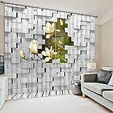 Yifengjubao Vorhänge 3D-Vorhänge 3D-Magnolie Schalldämmung Wärmedämmung Schattierung Hauptdekor-Schlafzimmer 2 Panels,Width300*High270cm