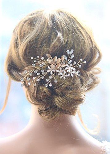gracewedding novia oro hoja de cristal cabello peine boda pelo peines  accesorios para el pelo mujeres c83c7f963c75
