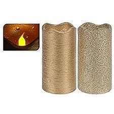Vela Led Color Oro Glitter Mate 13cm 2 Surtido A Elegir 1