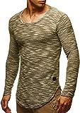 LEIF NELSON Herren Pullover Longsleeve Hoodie Basic Sweatshirt Hoodie Hoody Sweater LN6358; Größe M, Khaki