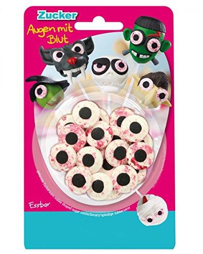 Horror-Shop 25 g Essbare Zuckeraugen mit Blut als Dekoration für Cake Pops & Muffins