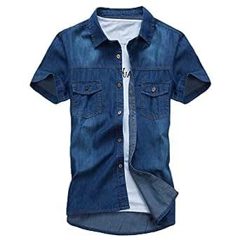 Dooxi Adolescenti Slim Fit Camicia di Jeans Estate Manica Corta Casual Camicie Blu Scuro M