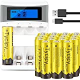 Tycipy 20 Pack 1.2V 2800mAh Rechargeable Ni-MH AA Batteries And 4 Bay AA AAA Battery Charger