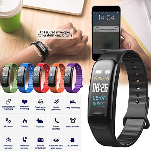 Auntwhale C1 Plus Bunten Bildschirm Wasserdicht Smart Armband mit Herzfrequenz/Blutdruck/Blut-Sauerstoff-Überwachung und Schlaf-Monitoring & Schrittzähler Blau-Zahn-Sport-Fitness-Armband