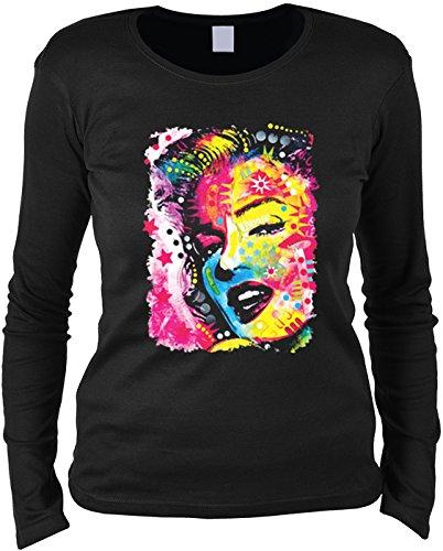 Damen Langarmshirt mit Motiv: Marilyn Monroe - Buntes Motiv - Geschenk - Pullover, Pulli - Farbe: schwarz Schwarz