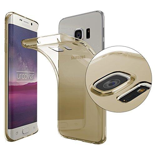 Urcover® Samsung Galaxy S6 Edge [ KAMERASCHUTZ ] Handy Schutz-Hülle | TPU / Silikon Handyhülle Champagner Gold Transparent | Flexibel Ultra Slim Dünn | Smartphone Zubehör Back-Case | Soft Crystal Cover Schale