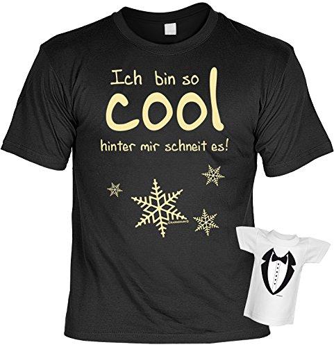 Lustiges Sprüche Fun T-Shirt mit MiniShirt - Ich bin so cool, hinter mir schneit es - für Damen Herren Farbe schwarz Schwarz