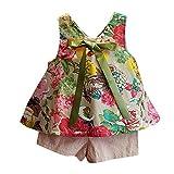 Ropa para niñas, Xinantime Conjunto de ropa de fiesta para chica casual linda blusa barato chaleco floral camisa + bowknot Pantalones cortos Niños Bebé Niña Verano moda blusas (11 (4~5años))