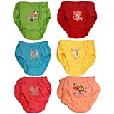 Babeezworld Baby Boy's & Girl's Basic Cotton Regular Fit Multicolour Printed Nappies Panty V Shaped Bloomer Brief (Kids Pack Of 6)