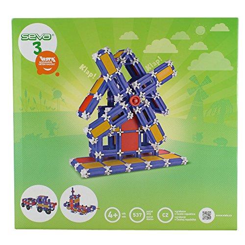 Preisvergleich Produktbild Dieser Baukasten besteht aus 537 Teilen, mit denen das Kind einen LKW oder einen Traktor oder ein Schiff oder eine Windmühle und auch ein Karussell oder einen Helikopter konstruieren kann.