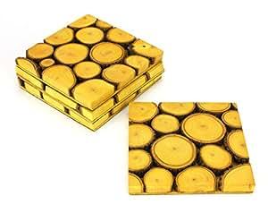 Set di 4 Tamarind legno Bevande Mat / Coasters - macchiato versione.