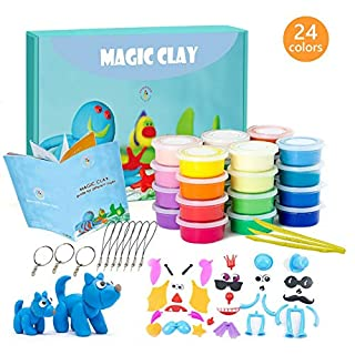 Modeling Clay Kit - 24 Colors Air Dry Ultra Light Magic Clay, Soft & Stretchable DIY Molding Clay with Tools, Animal Accessories, Easy Storage Box Best Crafts Gift for Boys & Girls Age 3-12 year old