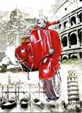 Keilrahmen-Bild - Bresso Sola: The Beautiful Motorbike 50 x 65 cm Vespa Motorroller in Italien Rom Venedig Pisa Florenz Kult