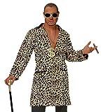 Hustler Leoparden Jacke Mantel Pimp Herren-Kostüm Lude Zuhälter Stenz Gauner Assi Proll Disco Fever, Größe:M/L