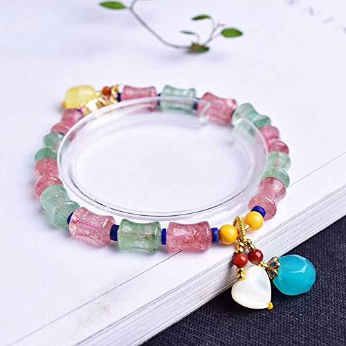 MGZDH Natürliche rote und grüne Erdbeere Kristall Bambus Armband mit natürlichem Honig Wachs Einzel-Runde Hand Zeichenfolge hundert Paar -