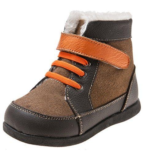 Little blue lamb toddler chaussures bottes avec doublure en fourrure véritable marron