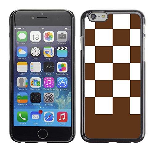 Graphic4You Kariert Muster Design Harte Hülle Case Tasche Schutzhülle für Apple iPhone 6 / 6S (Rot) Braun