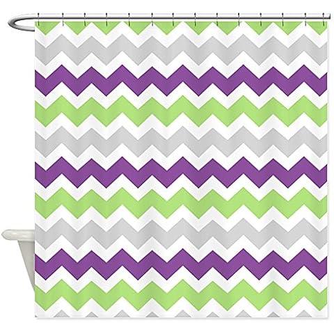 CafePress colore: verde Lime, Viola, Grigio Tenda da doccia Chevron Stripes, Bianco, Standard - Viola Chevron Stripes