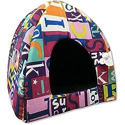 Caseta iglú para gatos pequeños diseño con letras de colores