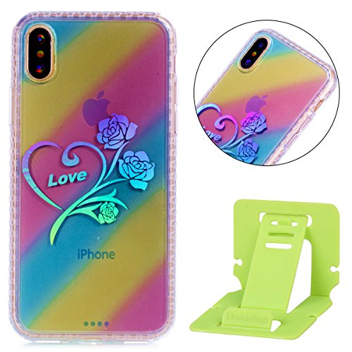 Custodia iphone X 5.8, iphone 10 Cover Glitter, Ekakashop Cover Morbido Sparkly Bling Bling Glitter TPU Silicone Gomma Soft Cover, Belle Bello Trasparente Crystal Clear Protettiva Back Cover Case Cus A-Rose Fiore