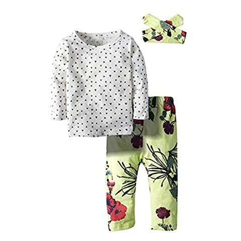 BIG ELEPHANT 3 Stück Baby Mädchen Body Lange Ärmel Top Pants Kleidung SET MIT Hat Gr. 12-18 Monate, mehrfarbig H56