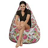 Decorative floral style Canvas HD printed bean bag with beans filled xxxl Comfortable Seating for Kids and Adult by Aart Store