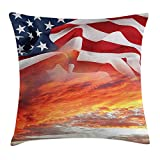 VICKKY American Flag Decor Throw Pillow Cushion Cover, Dramatic Skyline on Clouds and Flag Freedom and Independence Memorial Print, Decorative Square Accent Pillow Case, 18 X 18 Inches, Multi