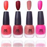 #8: Makeup Mania Premium Nail Polish, Combo of 4 Velvet Matte Nail Paint - Orange, Red, Brown, Pink, 12 ml each bottle (MM#16)