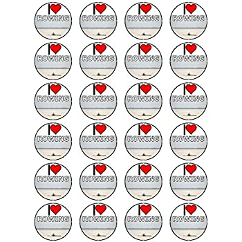 """x24 1.5/"""" I Love Rowing Birthday Cupcake Topper On Edible Rice Paper"""