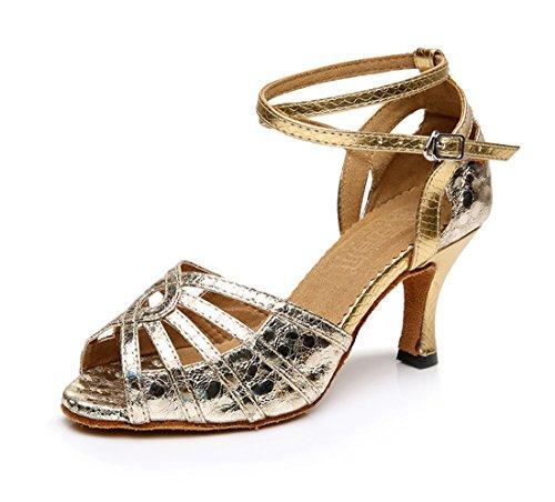 Honeystore Neuheiten Frauen's PU Leder Heels Absatzschuhe Moderne Latein-Schuhe mit Knöchelriemen Tanzschuhe LD0110 Gold 36 CN