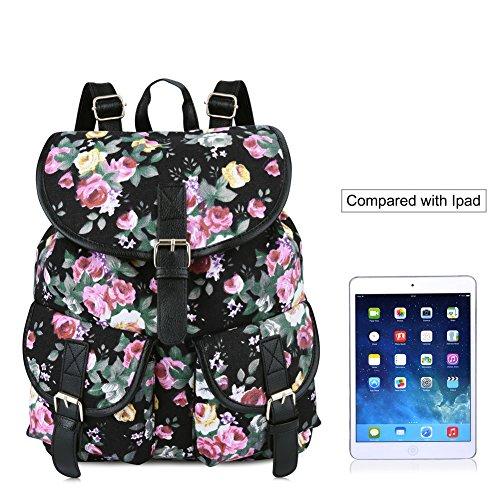 Vbiger Damen Rucksack Damen Daypack Backpack Canvas Rucksack Vintage Rucksack Schulrucksack mit Großer Kapazität Schwarz Blumen+
