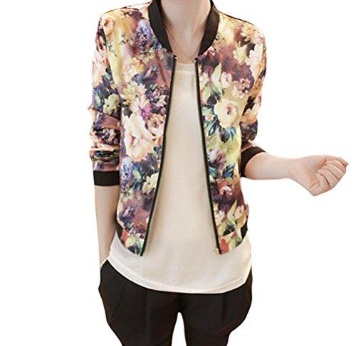 FEITONG Las mujeres del collar del soporte Manga larga de la cremallera impreso floral de la chaqueta de bombardero (L, Multi)