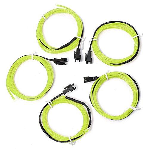RETYLY 5x 1m EL Wire EL Kabel Neon Beleuchtung leuchtschnur fuer Weihnachtsfeiern Rave Partys Halloween Kostuem + Batterie Box, Leuchtstoffgruen