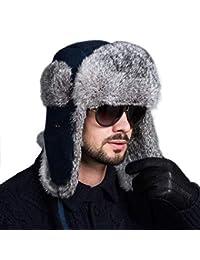 25682bebeba18 Targogo Sombrero De Aviador Unisex Para Hombre Para Piel Ocasional Mujer De  Conejo Sombrero De Bombardero Ruso Invierno Cálido…