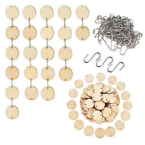 Holzscheiben 100 pcs mit S Haken 100 pcs -3.5cm Durchmesser & 2mm Dicke Naturholzscheiben - Runde Holzscheiben mit 2 Löchern - Baumscheiben zum Basteln - Holz Kreise für DIY Handwerk, Dekorationen