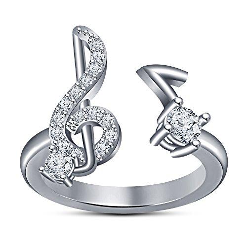 Vorra Fashion Weiß Rund Zirkonia Musik Note Notenschlüssel Ring in 925Sterling Silber