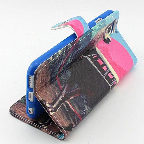 """Coque pour iPhone 6 6S 4.7"""", ISAKEN Élégant Style PU Cuir Flip Magnétique Portefeuille Etui Housse de Protection Coque Étui Case Cover avec Stand Support pour Apple iPhone 6 6S 4.7 Pouce (Tigre Blanc) Cerf Voiture"""