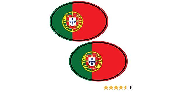 Biomar Labs 2 Stück Vinyl Portugal Flagge Aufkleber Autoaufkleber Stickers Auto Moto Motorrad Fahrrad Helm Fenster Tuning B 208 Auto
