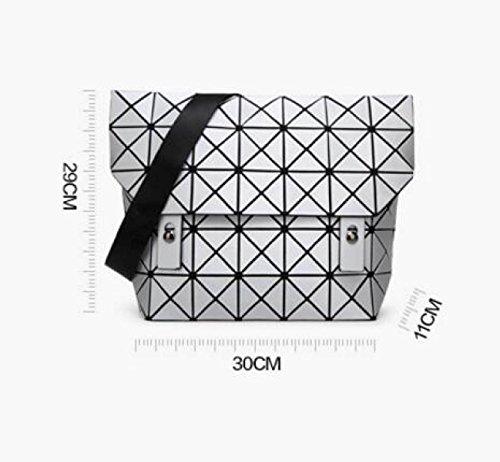 Damen Schulter Messenger Bag Japanisch Falten Geometrische Taschen Diamond Matte Casual Spliced Tasche Blue