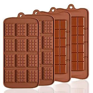 4 PCS Silikon Schokolade Formen, senhai 2 Arten von Break Apart Antihaftbeschichtung Candy Protein und Energie Bar Form Backblech ...