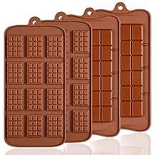 4 moldes de silicona para chocolate, Senhai 2 tipos de rotura Apart antiadherente Candy Protein