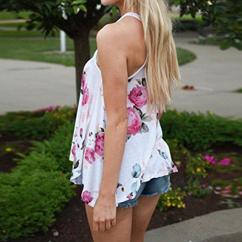 LONUPAZZ débardeurs femme imprimé fleurs t-shirt décontracté sans manches tops veste tank tops camisole Blanc